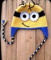 Preciosas Minions sombrero del ganchillo del bebé algodón de los niños hombrecito naranja sombrero de dibujos animados