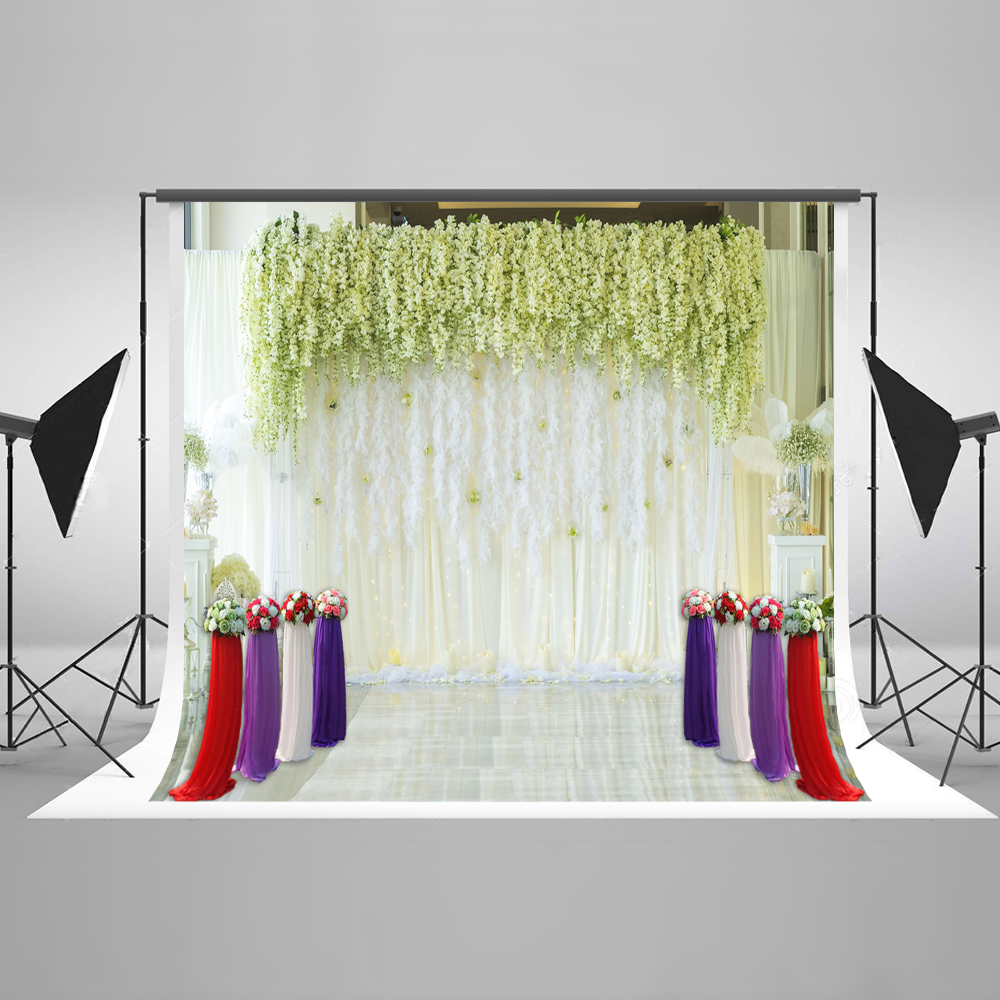 Kate 10x10ft Wedding Stage Flowers Photography Backdrops Decoration Washable Microfiber Professional Photography Background