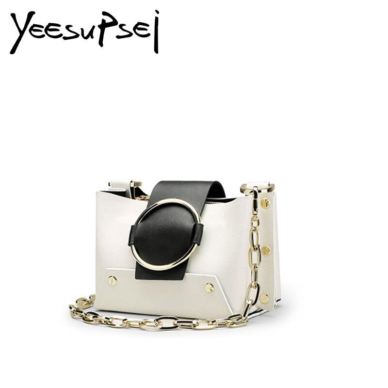 YeeSupSei Women Soft Leather Square Box Bag Famous Brand Clutch Bag Luxury Flap Shoulder Bag Women Golden Small Chain Box Bag