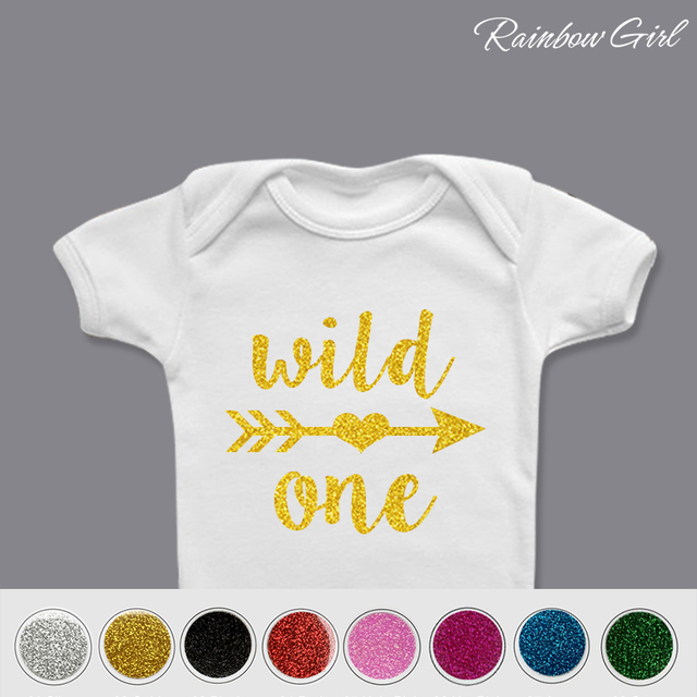 First Birthday DIY OutfitWild One Iron On8 Colors Glitter Vinyl Decal Baby Boy Party Shirt Decorations Supplies Gifts