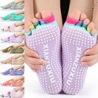 Women Bare Feet Exercise Fitness Non Slip Half Toe Toeless Yoga Socks Pilates