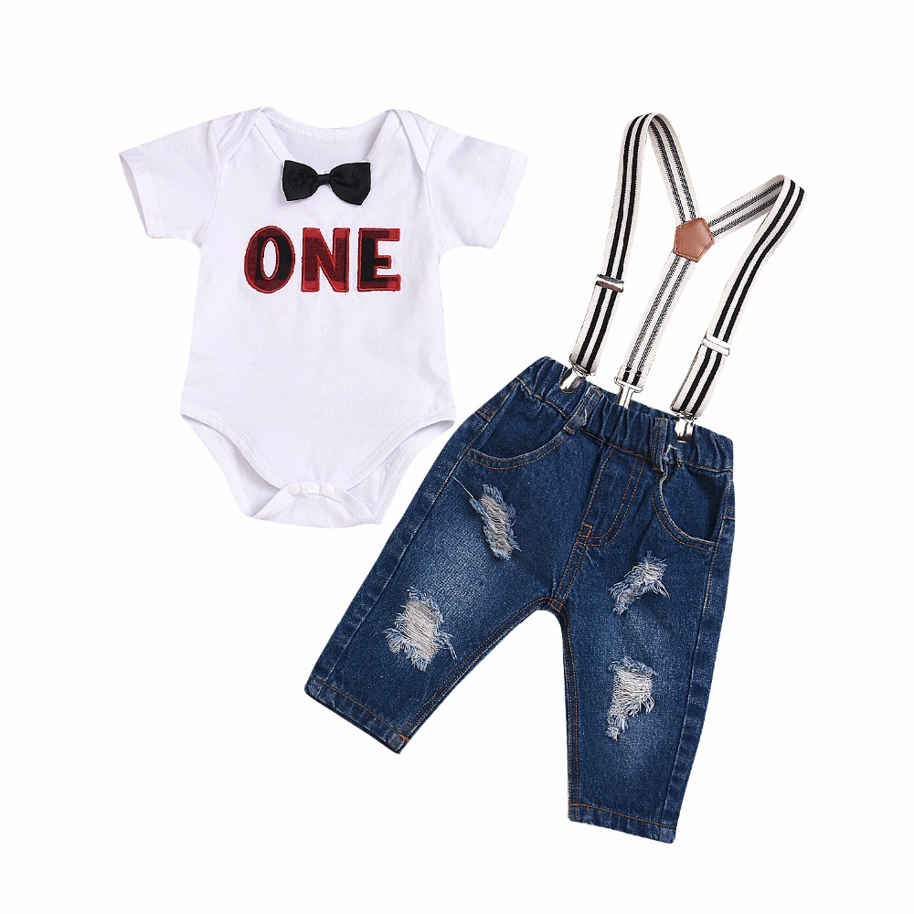 Baby Boy Clothes Gentleman Letters Clothing Suit For Newborn Baby Bowtie Romper+Denim Suspender Pant 2Pcs Pocket Overall Outfit ...