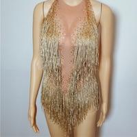 Sparkly Gold Tassel Bodysuit Rhinestones Outfit Glisten Beads Costume Crystal Dance Wear Singer Stage Leotard Headdress DJ304