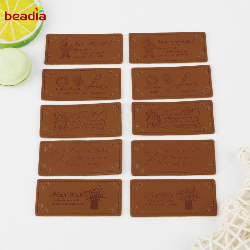 New Arrival 10pcs Handmade Labels For Clothes Garment PU Leather Labels Hand Made Tags Jeans Bags Shoes Sewing Accessories