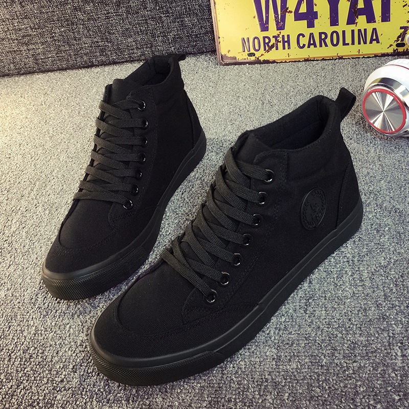 High Top White Black Canvas Shoes Skull Punk Men's Flats New 2018 Fashion Men Fa