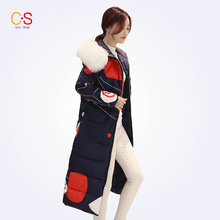 Large Fur Collar Women Floral Coat Thick Warm Winter Jackets Ladies Trench Coats Slim Fit Female Outerwears