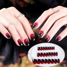 24pcs/Set Black Red Gradient False Nails Square Head Full Cover Short Nail Art Tips with Glue Artificial Fake Rhinestones
