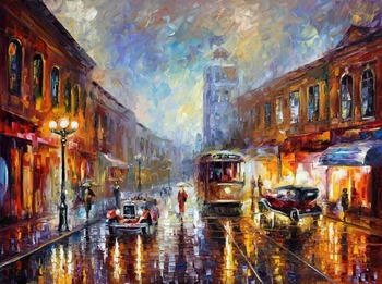 Modern Wall Art Landscape painting los angeles 1920 Colorful oil paintings Canvas Home Decor High quality Hand painted