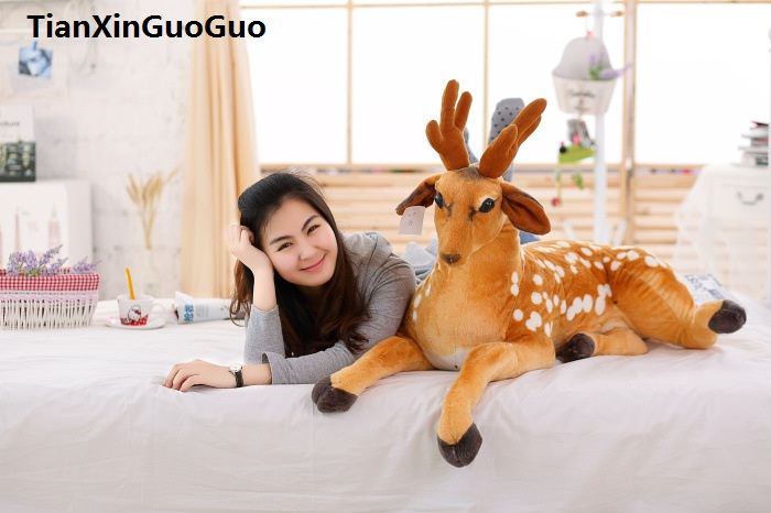 large 105cm prone sika deer plush toy cartoon sika deer soft doll sleeping pillow birthday gift s0491 large 90cm cartoon pink prone pig plush toy very soft doll throw pillow birthday gift b2097