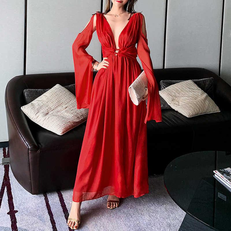 מקסימום Spri 2019 חדש נשים אופנה סקסית הולו מתוך אדום מסיבת סדק שמלת Vestidos לצלול מחשוף מגזרת רשת פיצול רגוע שמלה