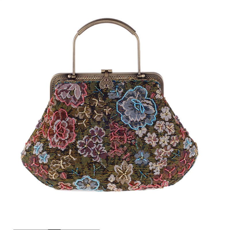 где купить Women Evening Handbag Beads Clutch Bags Wedding Party Bridal Purse Bag Vintage Embroidered Flower Ladies Totes Bags дешево