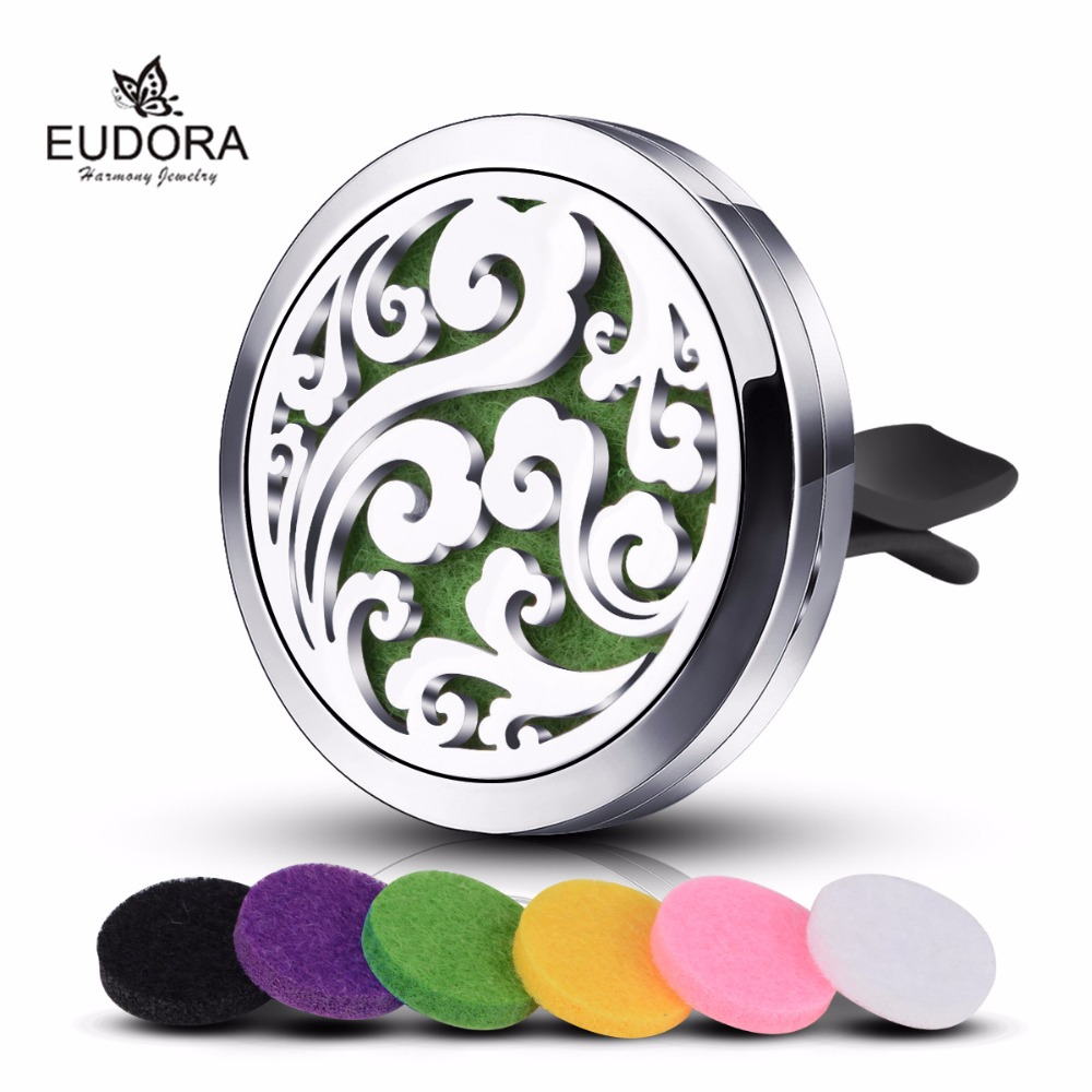 Aromatherapy Diffuser Perfume Locket with Felt Pads for Car 2018 Fashion Stainless Steel Flower Essential Oil Locket