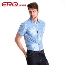ERQ 2017 new summer men Cotton shirt casual men's shirt short sleeve thin breathable slim blue shirts men clothes 58036