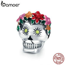 BAMOER Halloween Collection 925 Sterling Silver Flower Skull Charms Colorful Enamel Beads fit Women Bracelets DIY Jewelry SCC888(China)