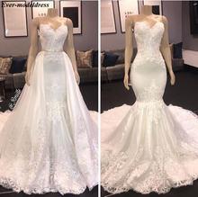 Роскошные свадебные платья с юбкой годе 2021 со съемным шлейфом