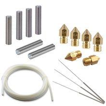 3D Printer Tool Kit - 6 Nozzle Heads, Extruder 30mm M6 Tube, 3 Cleaning Tool, 2M PTFE Teflon Tube