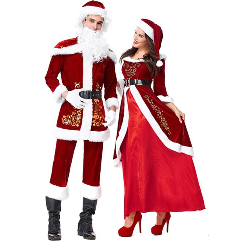 Deluxe Santa Claus Costume Cosplay Women Christmas Costume For Men Adult Santa Claus Dress Suit Couple Clothes