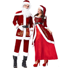 Deluxe Santa Claus Costume Cosplay Women Christmas Costume For Men Adult Santa Claus Dress Suit Couple Clothes цена