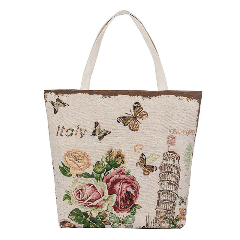 Printing Casual Canvas Bags Women Handbag Zipper Flower large Shoulder Bags For Woman 2017 Fashion Summer Big Tote Handbags New
