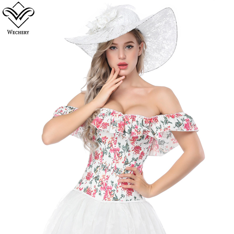 Wechery Off Shoulder Corset for Women Sexy Floral Clothing Corselet Tops Womens Ruffles White and Red Lace Up Corsets Bustier
