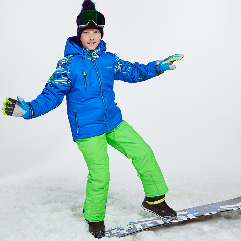 Detector Winter Thicken Boys Clothing Outdoor Set Snowboard Ski Set Jacket Pants Winter Twinset Suitable 20 30 degree in Skiing Jackets from Sports Entertainment