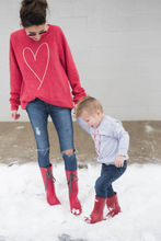 Family Matching Mother Baby Boy Kid Long Sleeve Heart Print Shirts