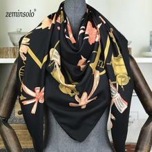 130*130cm 100% Silk Scarf Women Square Scarves Neckerchief 2018 Foulard Top Bandana Large High Quality