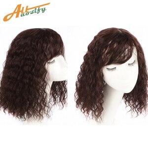 Image 2 - Allaosify parte superior encerramento peruca encaracolado cabelo sintético feito à mão natural preto cabelo topper grampo de cabelo em extensões de cabelo