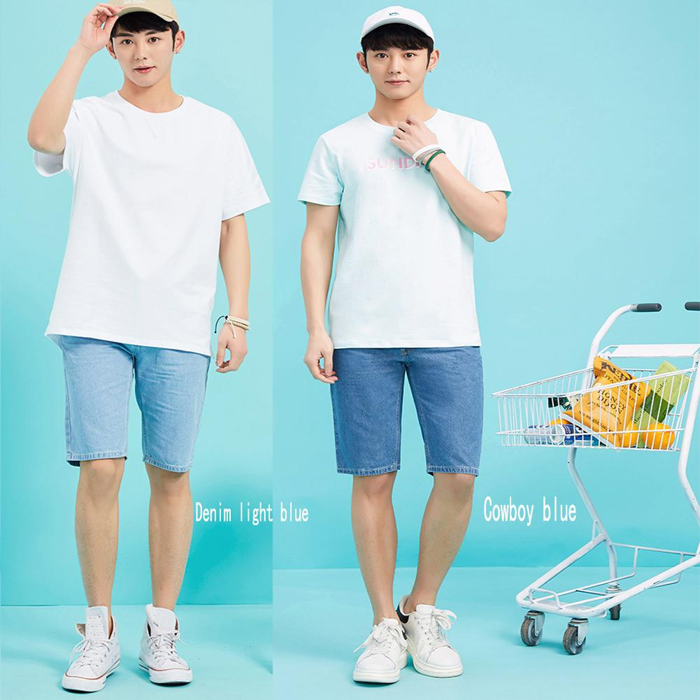 Male Jeans Summer Stretch Slim Blue   Short   Jeans Man Denim   Shorts   Mens Fashion Thin high quality Pantalones Cortos Hombre