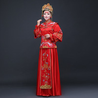 Traditional Chinese Bride Wedding Dress 2019 Winter Qipao Vestido Oriental Style Dresses Modern Cheongsam Red Embroidery