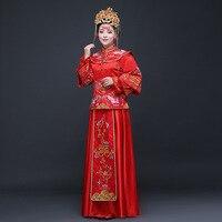Traditional Chinese Bride Wedding Dress 2019 Winter Qipao Vestido Oriental Style Dresses Modern Cheongsam Red Embroidery