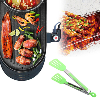 9 inch BBQ Tongs Silicone Rubber Handle Kitchen Meat Tong Barbecue Clip Clamp Food Tongs Food Tong Salad&Grill Serving BBQ Tools Щипцы