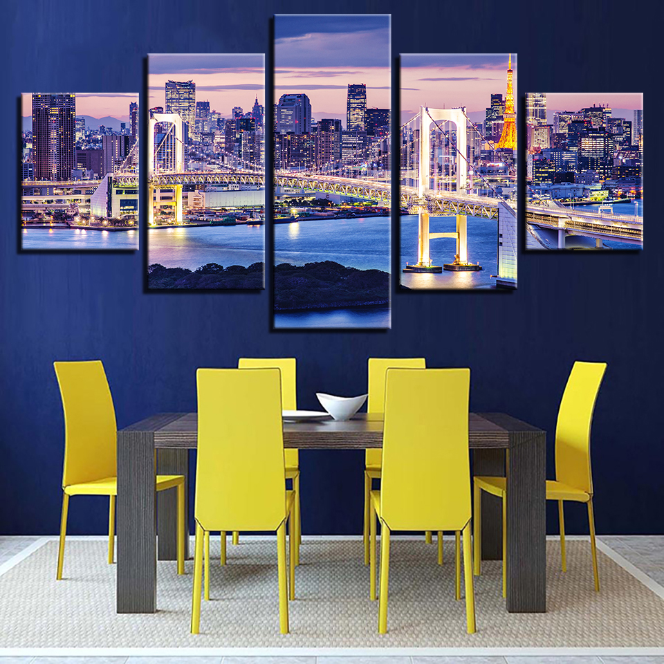 Decor Modern HD Printed Posters Tableau Wall Art 5 Panel The City Of <font><b>Sydney</b></font> Night View Home Paintings Modular Pictures Canvas image