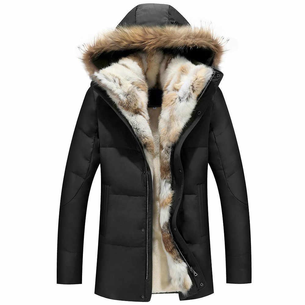Шерстяной подклад куртки мужские зимние с капюшоном толстые теплые пуховые пальто мужские длинные парки женские с перьевым меховым воротником шляпа ветровка от снега