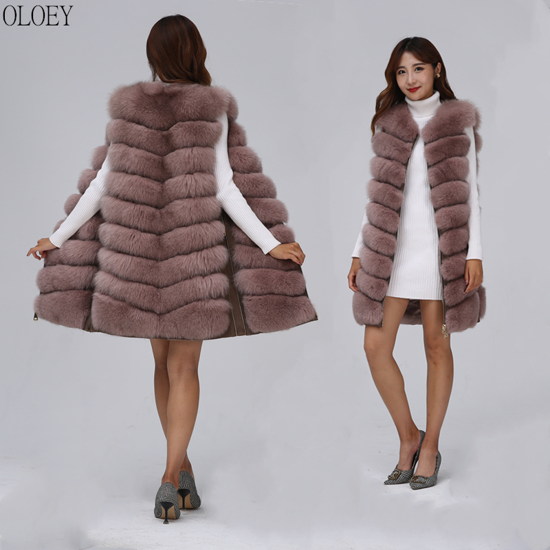 2019 New Women's Winter Real Fox Fur Vest Real Fox Fur Jacket High Quality Fashion Warm Sleeveless Zipper Natural Real Fur Coat