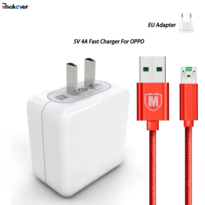 USB Fast Charger 5V/4A Flash Wall Charger Adapter 1M Quick Charge Cable For OPPO R15 R9 R9S R11 R11S R15S Plus Find 5 7 R3 R5