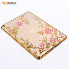 For iPad Air2 Case Fashion Plating Frame Secret Garden Flower for iPad 6 Tablet Case