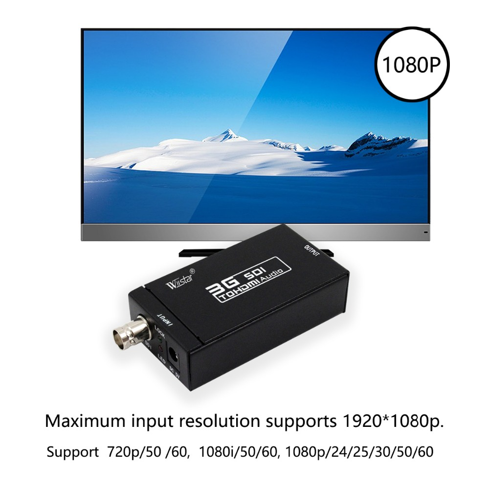 WIISTAR SDI HD SDI 3G SDI to HDMI 720p 1080p Adapter Video Converter with Embedded Audio in HDMI Cables from Consumer Electronics