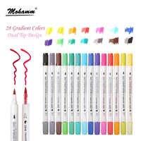 STA 14 шт./лот 28 градиентных цветов двойной наконечник акварельные кисти маркеры на водной основе надписи маркеры ручки раскраска книга для ри...