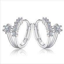 Pure 925 Sterling Silver Earrings For Women Accessories Vintage Zircon Flower Hoop Female Party Girls Bijou