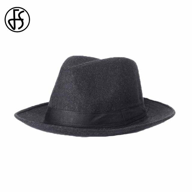 Sombrero de Panamá negro de marca FS para hombres de fieltro ala ancha  Caballero Fedoras sombrero ab51a831a0f