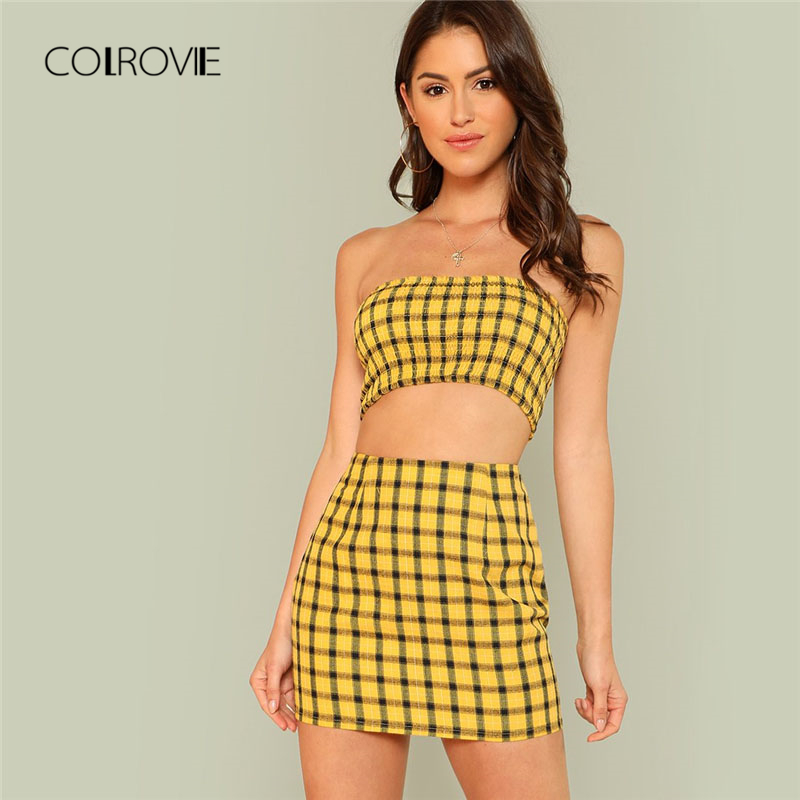 767b3cce595 COLROVIE Plaid Print Shirred Strapless Crop Top And Skirt Set Summer Yellow  Zipper Beach Two Piece Set Vacation Women Sets-in Women s Sets from Women s  ...