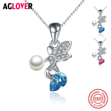 925 Sterling Silver Temperament Women Jewelry Austria Crystal Natural Pearl Angel Wedding Accessories Female Necklace Pendant elegant quality silver 925 jewelry classic temperament wedding necklace 8mm pearl cream s925 sterling silver chain for women