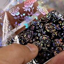 4*100cm/rolo 3d holográfico rosa flores design da folha de laser adesivos manicure prego decoração da arte do prego ferramentas