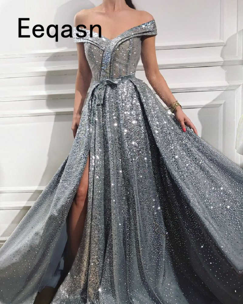 888838a1b0a9 Shiny Silver Grey Prom Dresses 2018 Elegant Off the Shoulder Dubai Turkish  Party Gowns Slit Evening Dress vestido largo