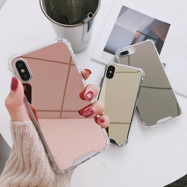 Luxury Mirror and Anti-knock Protector Phone Cases For iPhone XS Max XR XS/X/10 Case For iphone 6 6S 7 8 Plus TPU+PC Back Cover