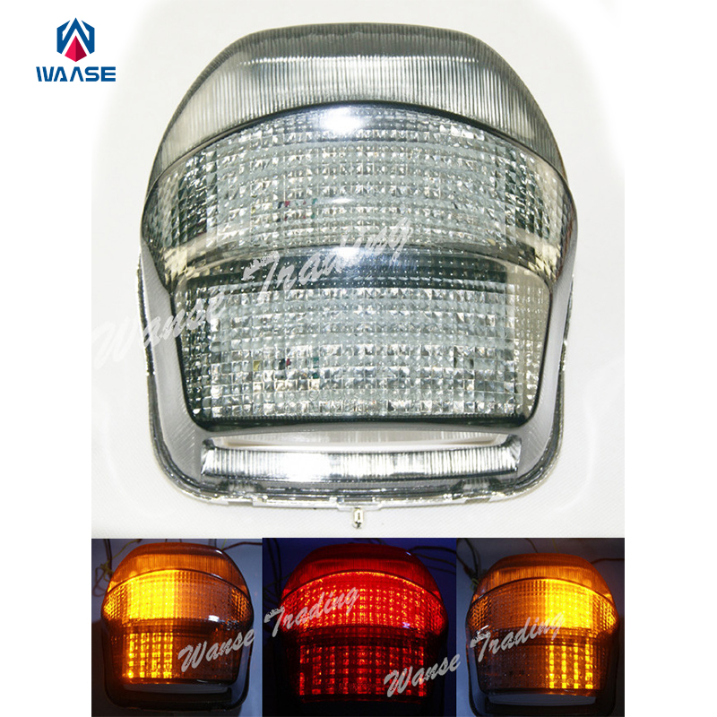waase E-Marked LED Integrated Taillight Tail Brake Turn Signals Light Lens For Suzuki SV650 1999 2000 2001 2002 2003 Smoke Lens