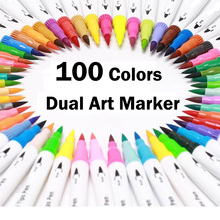 лучшая цена 100 colors Dual Tip Brush Pens with Fineliners Art Markers Watercolor Dual Brush For Adult Coloring Books Art Calligraphy Manga