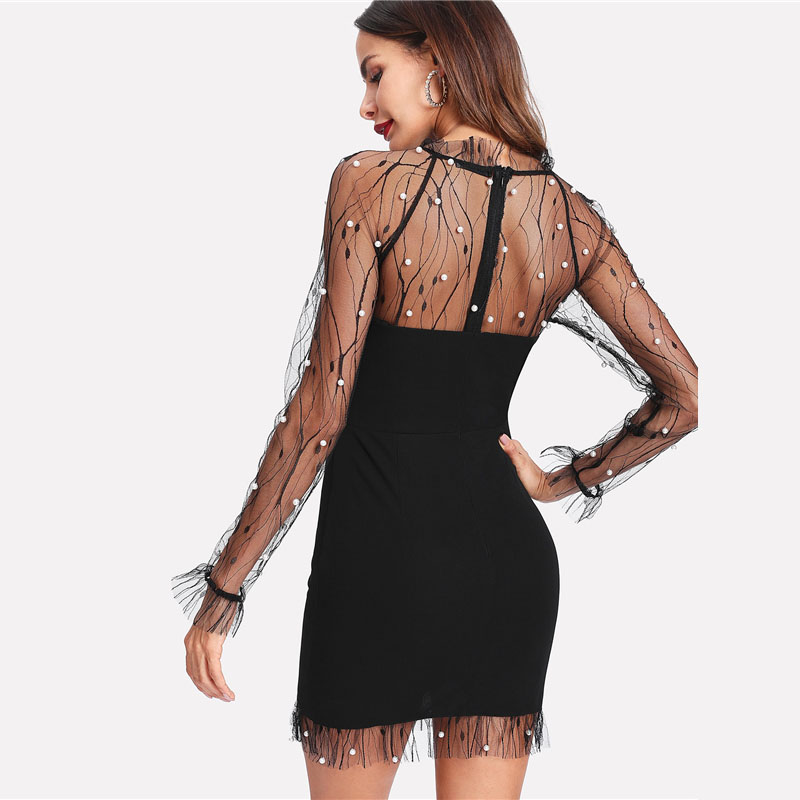 Black Pearl Beading Vine Mesh Panel Ruffle Round Neck Long Sleeve Bodycon Dress