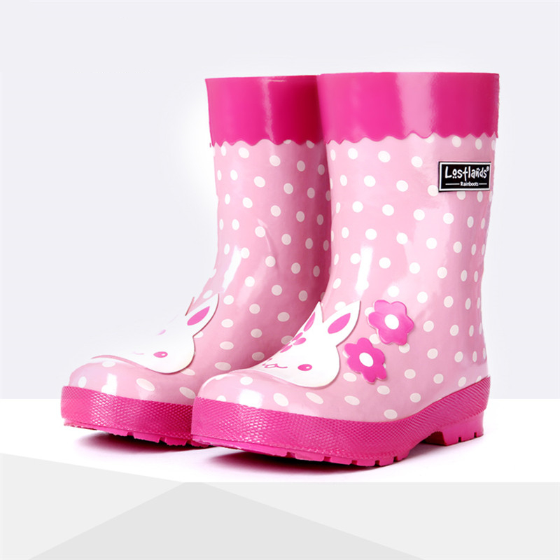 Children Rubber Shoes Girls Cartoon Pink Bunny Decals Rain Boots Children-shoes-for-girls Kids Fashionable Non-skid Water boots fashionable pink cartoon lion and handgun pattern 9 5cm width tie for men